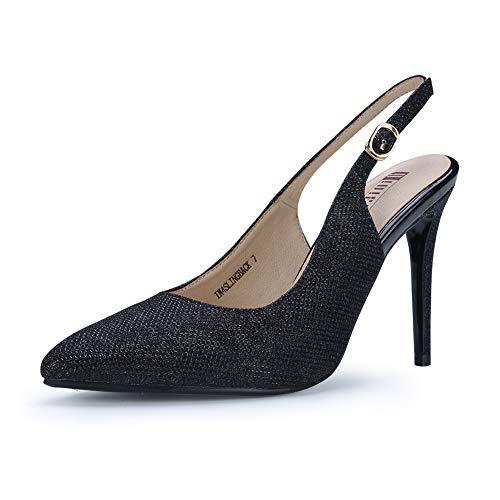 ingback Pointed Toe Ankle Strap Stiletto High Heel Dress Pump (Black Glitter, 7.5 B(M) US) ()