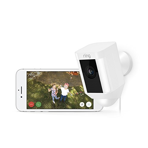 Certified Refurbished Ring Spotlight Cam Wired: Plugged-in HD security camera with built-in spotlights, two-way talk and a siren alarm, White, Works with Alexa