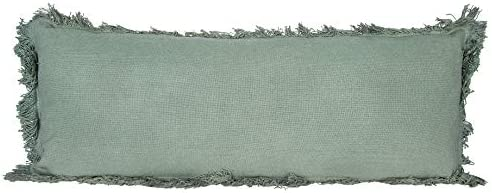 Creative Co-op Rectangle Pillow with Fringe, Green