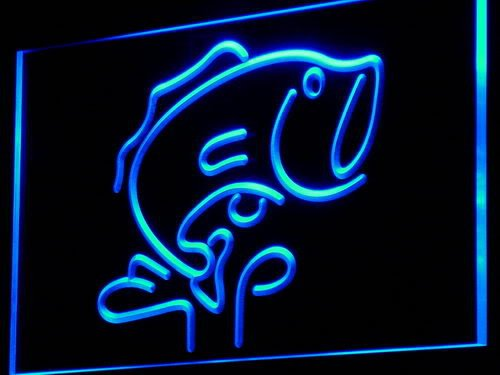 Fish Neon Light - LARGE MOUTH BASS Fishes LED Sign Neon Light Sign Display i795-b(c)