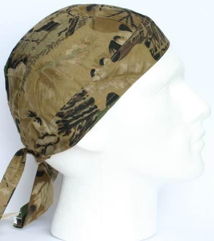 TC-Accessories WOODLAND BEIGE BROWN camouflage ZANDANA durag fitted bandana rag