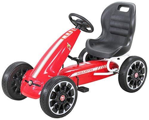 PEQUENENES Kart Coche de Pedales Fiat Abarth de CARS12V, Ruedas neumaticas, carenado de Proteccion, Freno de Mano, Asiento Regulable de Cuero (Rojo): ...