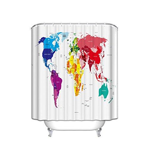 Prime Leader World Map Shower Curtain,Extra Long Bath Dec...