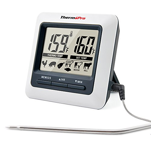 ThermoPro TP04 Digital Bratenthermometer Ofenthermometer mit integriertem Count Down Timer