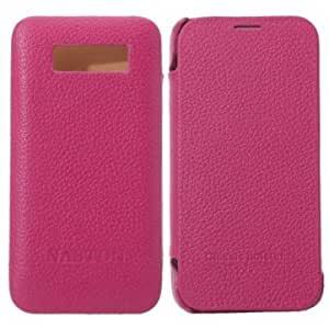 Genuine Leather Protective Case For Xiaomi Mi2 --- Color:Rose Red