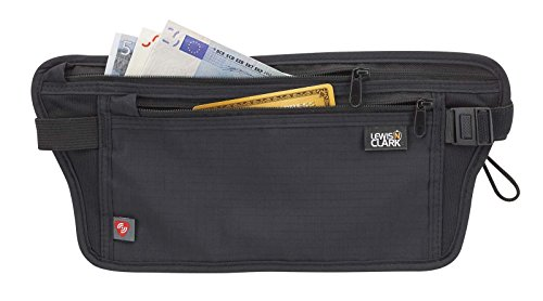 Lewis N. Clark RFID-Blocking Waist Stash Anti-Theft Hidden Money Belt, Black, One Size