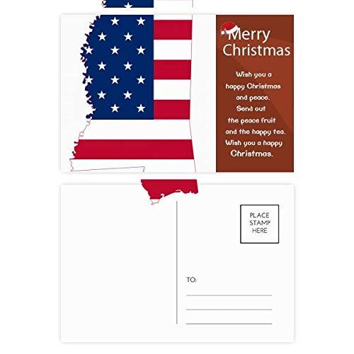Mississippi USA Map Stars Stripes Flag Shape Christmas Message Postcard Card 20pcs (Mississippi Postcard)
