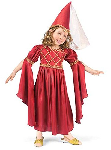 Princess Paradise Merry Maiden Red Ren Faire Gown Girl Costume Dress & Hat XS MD -