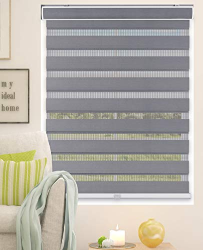 Calyx Interiors A04ZLB340600 Cordless Zebra Roller Shades, 34-Inch Width x 60-Inch Height, Gray