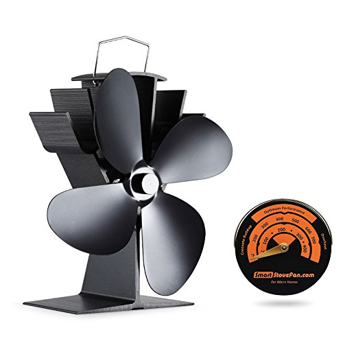 17% Fuel Cost Saving Original Top Heat Powered Eco Stove Fan 4 Blade Aluminum Black for Gas Coal Pellet Log Wood Burner Fireplace Oven Heater Fire Burnning