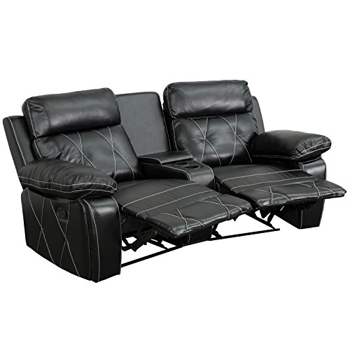 Flash Furniture Reel Comfort Series 2-Seat Reclining Black Leather Theater Seating Unit with Curved Cup Holders