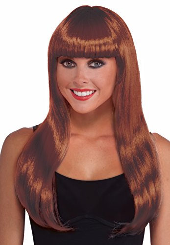 Forum Novelties 75751 Supplies Party Wig with Bangs, Auburn, One-Size -