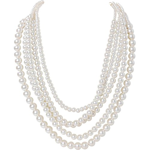 Humble Chic Simulated Pearl Necklace - Long Multi-Layer Strand Faux Round Bead Statement Bib, White, Gold-Tone -