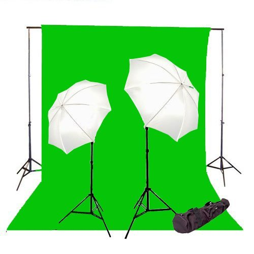 Image of Background Support Equipment CowboyStudio 400 Watt Photo Studio Continuous Lighting Kit, 6 X 9 Feet Green Muslin Backdrop with Background Support System and Carry Case