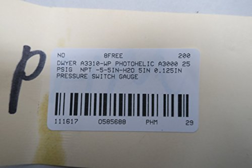 NEW DWYER A3310-WP PHOTOHELIC A3000 PRESSURE SWITCH/GAUGE 5-0-5IN-H2O D585688 by Dwyer (Image #8)