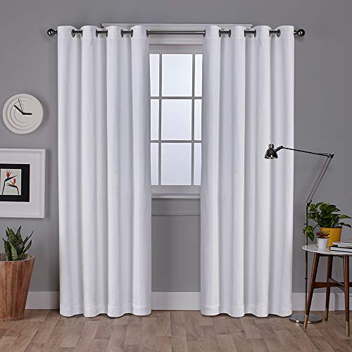 ins Vesta Heavyweight Textured Linen Blackout Window Curtain Panel Pair with Grommet Top, 52x96, Winter White, 2 Piece ()