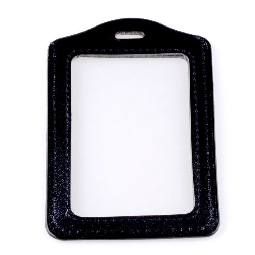 SPHTOEO 5pcs Black Faux Leather Business ID Credit Card Badge Holder Clear Pouch Case