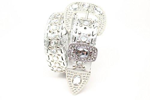 [DF Bold Silver Western Cowgirl Rhinestone Jewel Studded Belt With Large Fashion Buckle] (Rhinestone Studded Belt)