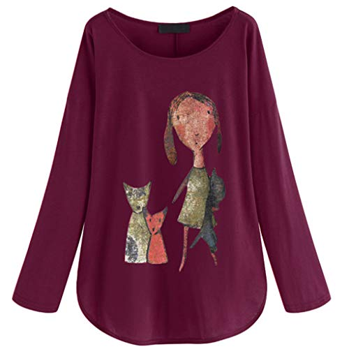 Tantisy ♣↭♣ Women's Plus Size Cartoon Long Sleeve Tunic Shirt Girl and Dog Autumn Tops Loose Tee Casual Multicolor Multi-Code Purple]()
