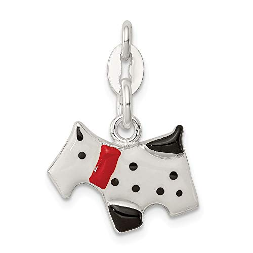(Sterling Silver Enameled Scottie Dog Charm)
