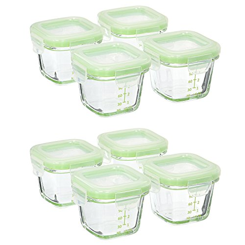 OXO Tot Glass Baby Blocks Food Storage Containers - 4 oz, Green. Set of 8