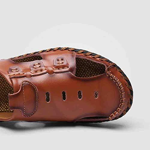 Plein Air Été en De Casual De Plage Respirant Sport Sandal Chaussures Marche Sangle Redbrown Cuir Voyage Men Réglable Lightbrown en 41 8aSwXn