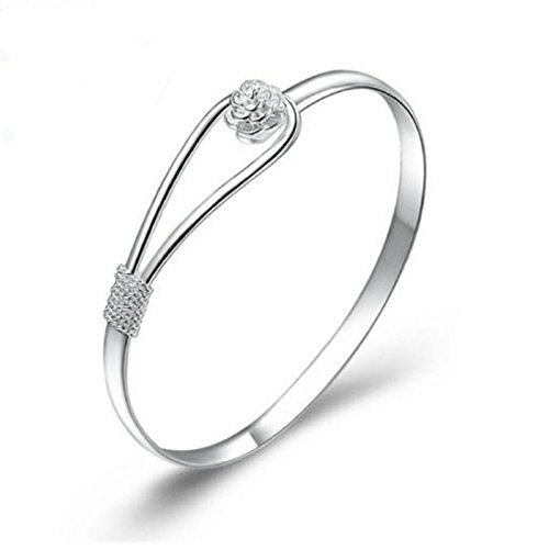 - Kinghard New Fashion Solid Silver with Nice Flower Clasp Bangle Bracelet B284