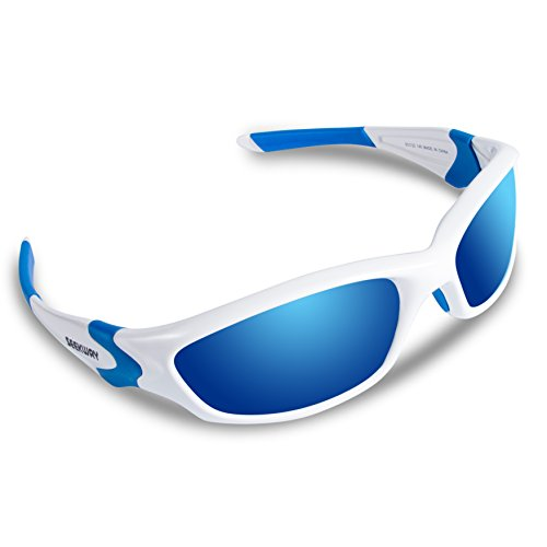 SEEKWAY Polarized Outdoor Sports Sunglasses For Cycling Driving Fishing Golf Baseball SWC086 (white&blue, blue iced - Sunglasses Cheap Prescription Sport