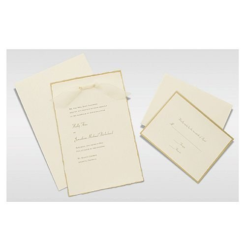 Gartner Studios Invite Kit, Ivory Gold Deckled Edge, 50-Count (61405) by Gartner ()