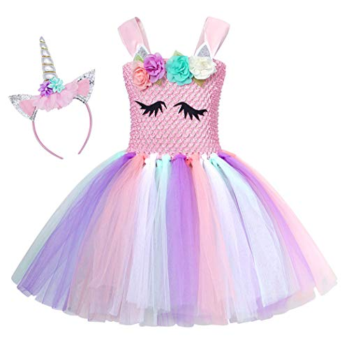 fa9cbd499964 AmzBarley Girls Unicorn Dress Party Wedding Costume Kids Outfit Cosplay  Halloween