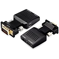 eErlik HDMI Female to VGA Male Converter+ with 3.5MM Audio USB Power Cable Audio Adapter Support 1080P Signal Output