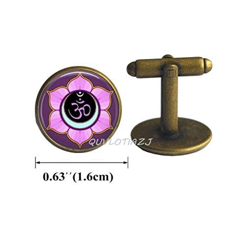 QUVLOTIAZJ Om Cufflinks, Yoga Cufflinks, Purple Lotus Flower Blossom, Om Symbol, Zen, Buddhism, Yoga Key Fob,Om Cufflinks Accessories,ot316 (A3)