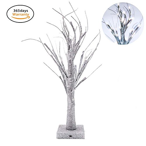 Led Bonsai Tree Light, Small Desk Christmas Tree with 32 Warm White LED Lights for Home Festival Wedding Party Christmas Indoor Outdoor Decoration, Tree Desk Lamp, Yimai(Silver)