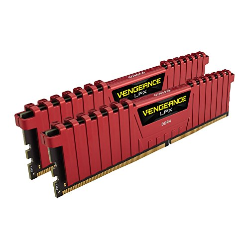 Corsair Vengeance LPX 16GB (2x8GB) DDR4 DRAM 2400MHz (PC4-19200) C14 Memory Kit - Red (CMK16GX4M2A2400C14R)