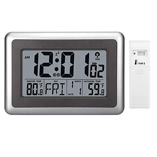 Wireless 300' Range - Forestime Digital Atomic Wall Clock, Desk Alarm Clock, Battery Operated with Wireless Sensor 300 ft / 100 Meter Range, Large LCD Display, Indoor/Outdoor Temperature, Table Standing Without Backlight