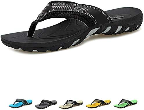 TUOBUQU Mens Flip Flops Orthotic Thong Sandals with Arch Support