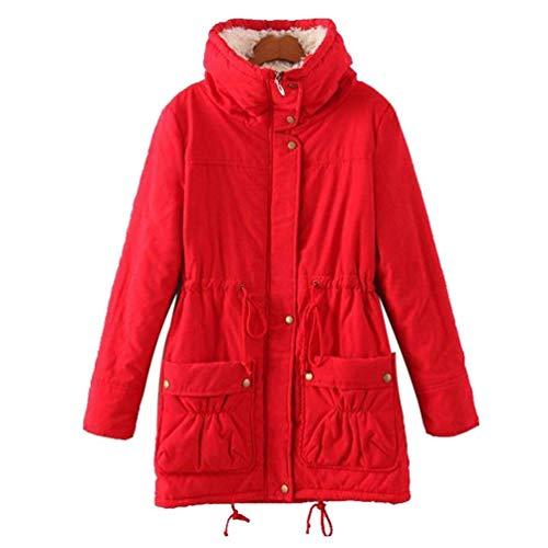 Manteau Capuche Rouge large Femme D'hiver couleur Slim En Taille Zhrui Coton Avec Chaud Veste X Fausse Fourrure qtnwBO5fa