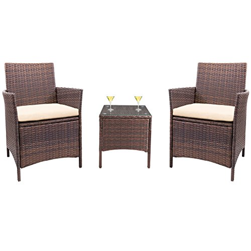 Cheap  Homall 3 Pieces Wicker Outdoor Patio Furniture Set Clearance Rattan Sofa,Outdoor/Indoor Use..