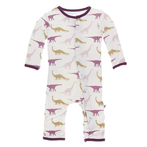 Kickee Pants Little Girls Print Coverall with Snaps - Natural Sauropods, 0-3 Months