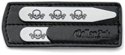 Collar Ink Men\'s Metal collar stay (Three Skulls)-2-1/2\