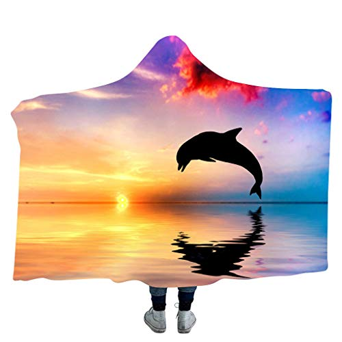 (Hijing Wearable Wrap Hooded Blanket Cloak,Shawl Double Layer Faux Fleece Thickened for Winter Warm Coat Bedding 130x150cm/150x200cm)