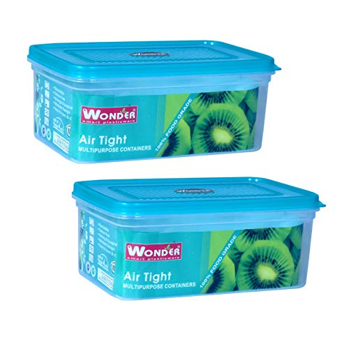 Wonder Plastic Container – 2500ml, Set of 2, Green