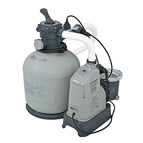 Intex Krystal Clear 2150 GPH Sand Filter Pump & Saltwater System with E.C.O. (Electrocatalytic Oxidation) for Above Ground Pools, 110-120V with - Intex Swimming Pool Filter