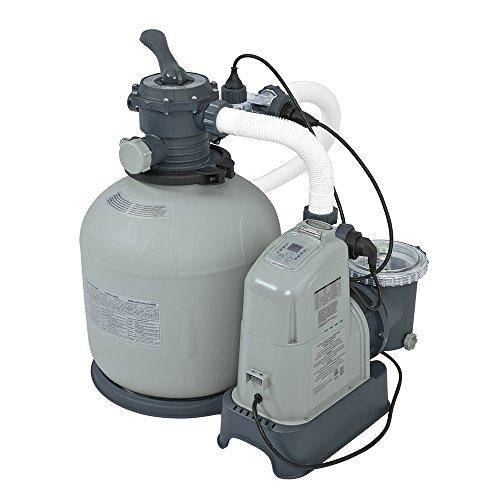Intex Krystal Clear 2150 GPH Sand Filter Pump & Saltwater System with E.C.O. (Electrocatalytic Oxidation) for Above Ground Pools, 110-120V with GFCI Sand System
