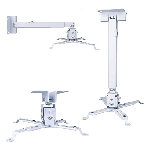 Henxlco Universal Extendable Adjustable Tilt DLP LCD Ceiling Projector Mount Bracket White