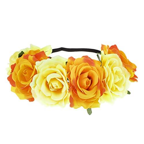 June Bloomy Rose Floral Crown Garland Flower Headband Headpiece for Wedding Festival (Yellow Orange)