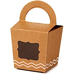 ONE MORE Single Cupcake Box Of Handle With PVC Window 24 Of Pack (Brown)