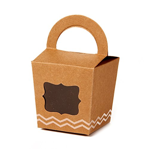ONE MORE Single Cupcake Box Of Handle With PVC Window 24 Of Pack (Brown) -