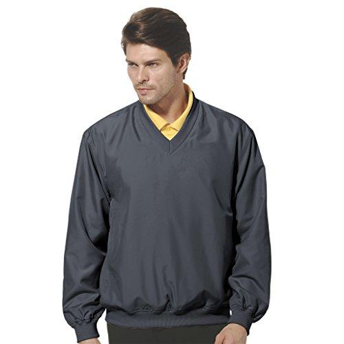 Microfiber Pullover (Monterey Club Mens Lightweight Microfiber Long Sleeve Dobby V-neck Pullover #1799 (Navy, Small))