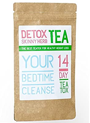 14 Day Bedtime Cleanse Tea : Detox Skinny Herb Tea - Body Cleanse / Reduce Bloating / Natural Weight Loss Tea / Speed up your Metabolism / Appetite Suppressant / 100% NATURAL